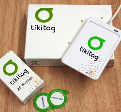 STICKY TIKIS: The starter kit comes with a reader and some tags