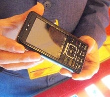 CUSTOM PHONES: Two specially developed handsets are used in the Cqpass system