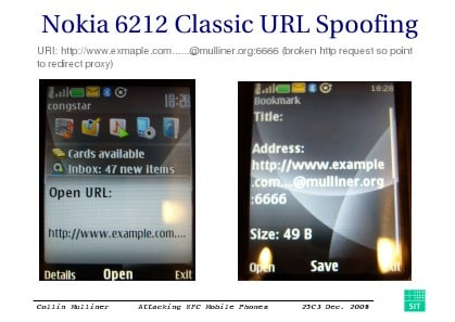 FOR THE CRACK: Mulliner demonstrates how a malformed URL in an NDEF NFC tag can make the Nokia 6212 show the user one destination while actually loading another
