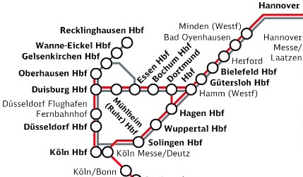 ALL MAPPED OUT: The trial are will expand to cover routes between Berlin, Hanover, Frankfurt and the Ruhr from January 2010 (click to see full map)