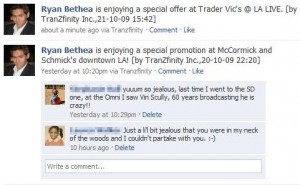 TELL YOUR FRIENDS: In return for the coupon, a promotional message is posted to the consumer's Facebook wall (click to enlarge)