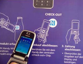 Farm produce buyers serve themselves with NFC phones in an unmanned shop