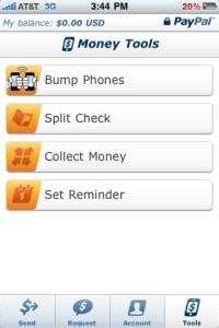 Paypal's Send Money Bump screenshot