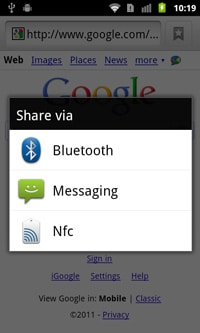 Android NFC sharing
