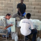 Clean water buckets in Haiti