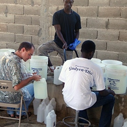 Clean water buckets in Haiti