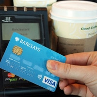 A contactless transaction taking place