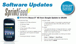 Sprint's Nexus S 4G update notice