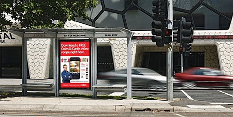 How the Coles NFC ad will look in an Adshel bus shelter