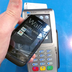 The Nokia Lumia 610 NFC conducting an NFC transaction