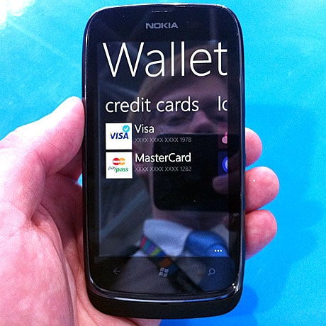 Nokia Lumia 610 NFC showing its wallet software in action