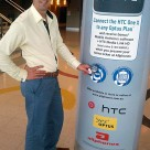 Andrew Davis with an NFC pillar at Sydney's Allphones Arena