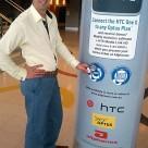 Andrew Davis with an NFC pillar at Sydney's Allphones Arena