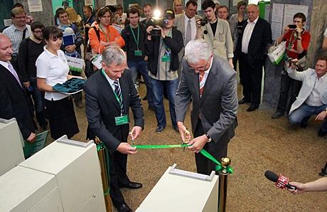 Yekaterinburg mayor Alexander Jacob (right) opens the NFC ticketing system