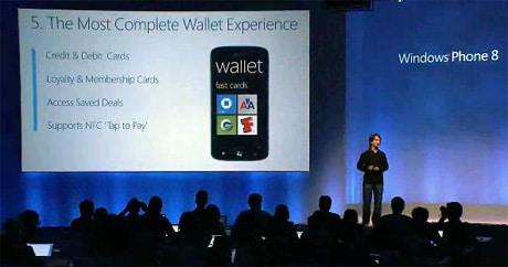 Joe Belfiore announces Microsoft's mobile wallet at the Windows Phone 8 unveiling