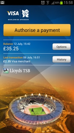 Visa's NFC payments app running on the Samsung Galaxy S III