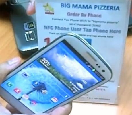 Ordering via NFC at Big Mama Pizzeria in Bangkok