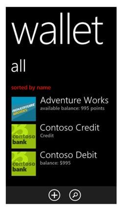 Microsoft Wallet screenshot