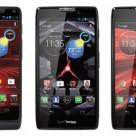 Motorola's Droid Razr M (left), Droid Razr HD (centre) and Droid Razr Maxx HD (right)