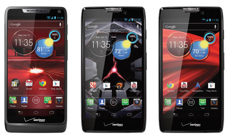 Motorola's Droid Razr M (left), Droid Razr HD (centre) and Droid Razr Maxx HD (right)