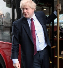 Mayor Boris Johnson on a London bus. (C) Transport for London.