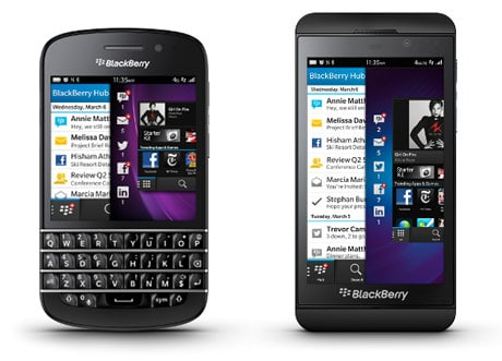 The BlackBerry Q10 and BlackBerry Z10