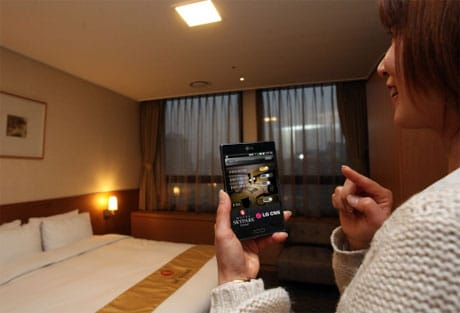 NFC phones open doors for guests at Seoul's Hotel Skypark Central