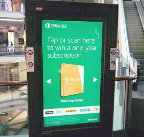 An NFC-enabled ad for Microsoft Office 365