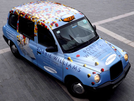One of Samsung's Robbie Williams taxis