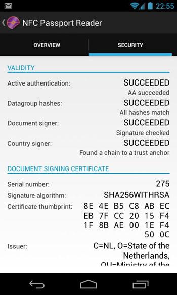 Novay's NFC passport reader app