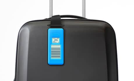 BA's NFC luggage tag in place on a case
