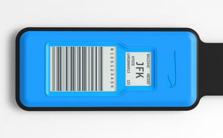 BA's NFC luggage tag shows a programmable barcode and destination information