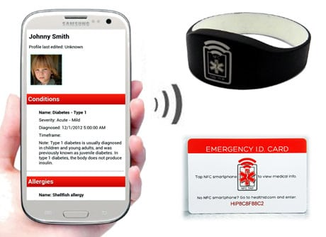 Tapping on a wristband or card will bring up health information