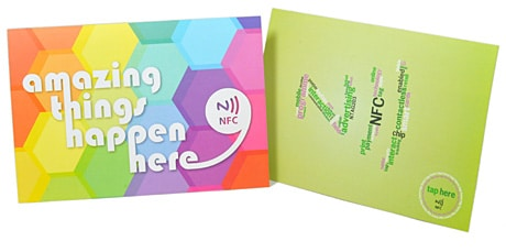 RapidNFC's NFC postcards come in two stock designs