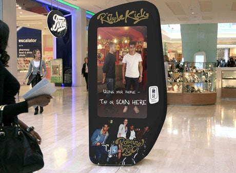 A digital pod promotes Rizzle Kicks at Westfield London