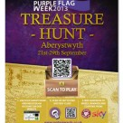A poster promoting the Purple Flag Treasure Hunt