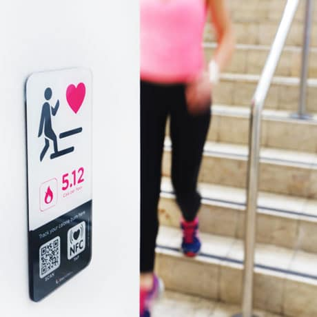An NFC sign from StepJockey