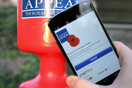 The 2013 Poppy Appeal tried NFC giving in Birmingham