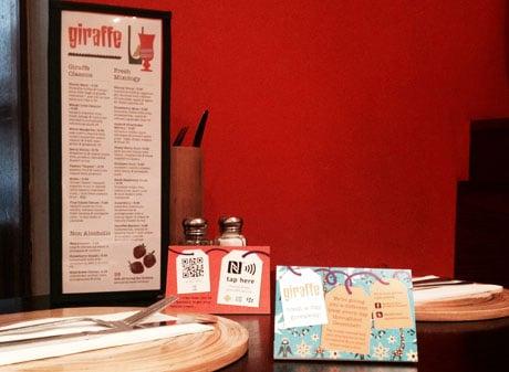 Giraffe Restaurants Offer NFC Treats NFC World - Restaurant table cards