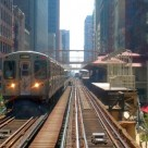 A CTA brown line train leaves Madison/Wabash station in the Chicago loop