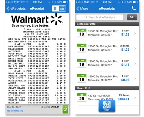 Walmart digital receipt