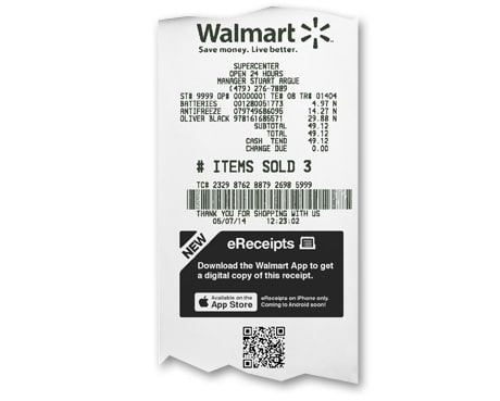 Walmart QR receipt