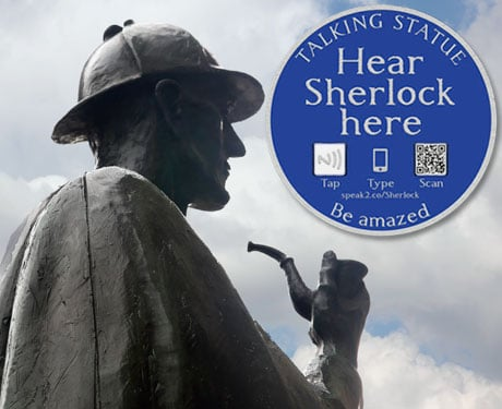 ELEMENTARY: Statues such as Sherlock Holmes come to life via NFC, QR code or short URL