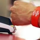 A Saints bPay wristband in use