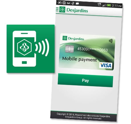 The Desjardins NFC mobile payment app