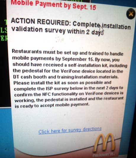 A notice informs staff that restaurants must be able to accept mobile payments by 15 September.