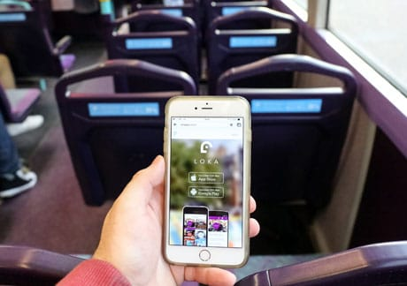 First Group's Loka app in use on a bus