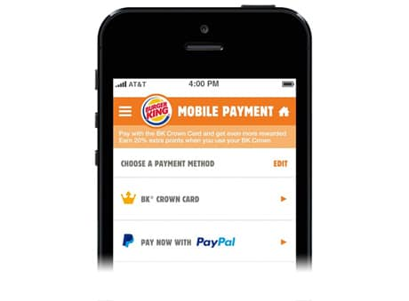 Buger King customers can order ahead and pay with PayPal