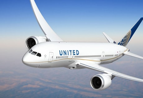 A Boeing 787 in United  Airlines livery