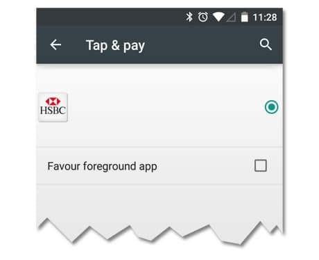 HSBC logo in Android Tap & pay settings